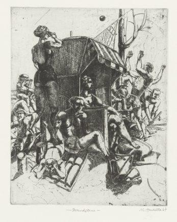 Strandszene, 1967, Strichätzung, Zinkplatte, 19,5 x 15,5 cm