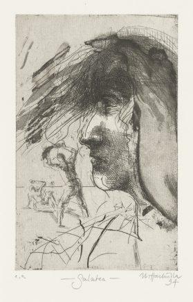 Galatea, 1994, Strichätzung, Vernis mou, Abätzung, Zinkplatte, 21,5 x 13,5 cm