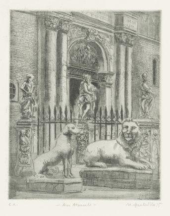 Am Arsenale , 1995, Strichätzung, Reservage, Aquatinta, Zinkplatte, 24,5 x 19,5 cm