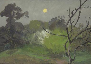 Wolfgang Mattheuer, Frühlingsmond, 1961, Öl auf Malpappe, 26 x 35 cm
