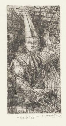 Harlekin (mit erhobenem Arm), 2005, Strichätzung, Reservage, Aquatinta, Zinkplatte, 14,7 x 7,5 cm