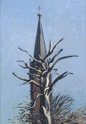 Wolfgang Mattheuer, Kirchturm und Buche, 1989, Öl auf Hartfaser, 70 x 50 cm