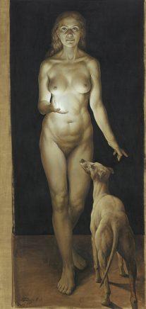 Michael Triegel, Wahrheit II, 2013, Acryl auf grundiertem Papier, 150 x 75 cm