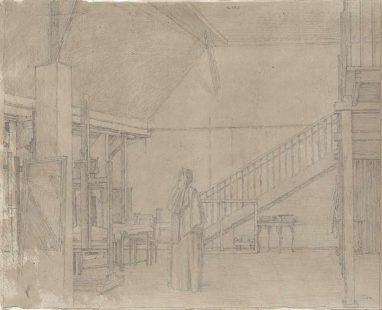 Atelier Springerstr. 5, II, 1990, Grafit auf graugrundiertem Papier, 25 x 41 cm