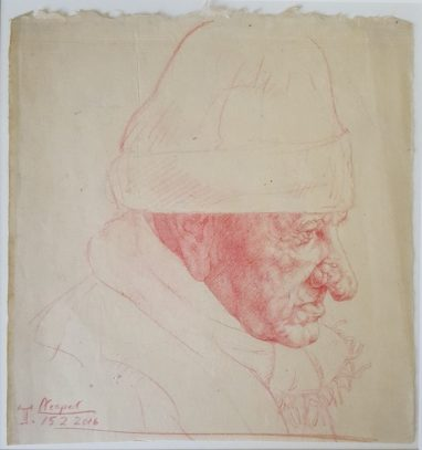 Michael Triegel, Alter aus Neapel, 2016, Rötel auf Papier, 22,5 x 21,5 cm