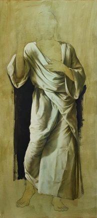 Michael Triegel, Gewandstudie Barmherziger Jesus, 2016, Acryl auf Papier, 104 x 48,5 cm