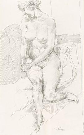 Sitzender weiblicher Akt, 1963, Grafit, 41,8 x 26 cm
