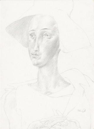 Frauenkopf mit Hut, 1967, Bleistift, 40,6 x 29,7 cm