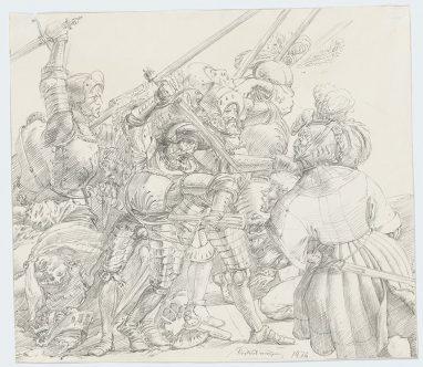 Gemetzel (Zum Bauernkrieg), 1976, Bleistift auf weißem Karton, 27,3 x 31,2 cm