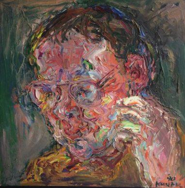 Gero Künzel, Porträt, 1990, Öl auf Leinwand, 52 x 52 cm