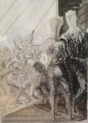 Ulrich Hachulla, Zwielicht, 1991, Tusche, Feder und Weißhöhung auf Papier, 75 x 53 cm