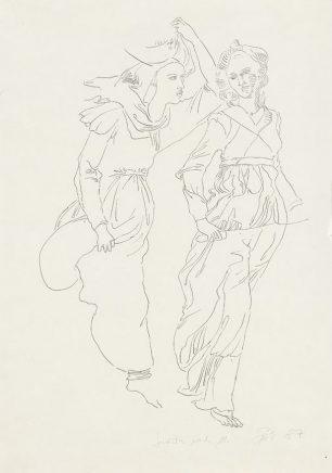 Arno Rink, Judith nach M., 1987, Tusche auf Papier, 59,1 x 42 cm