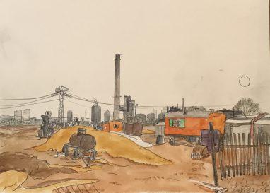 Leipzig, 1978, Bleistift aquarelliert, 23,5 x 32,5 cm