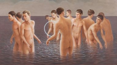 Leif Borges, Halo, 2018, Acryl und Öl auf Leinwand, 50 x 90 cm