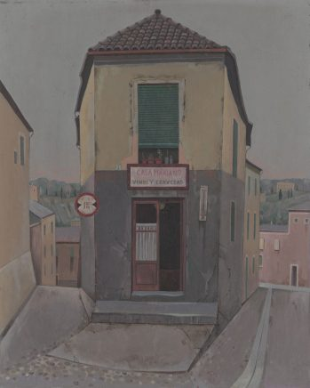 Günther Blau, Haus in Toledo, 1983, Tempera auf Hartfaser, 50 x 40 cm