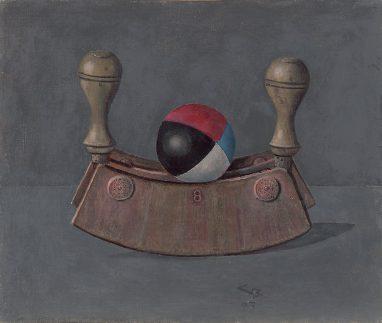Günther Blau, Wiegemesser mit Jonglierball, 1993, Öl auf Hartfaser, 26,5 x 31,7 cm