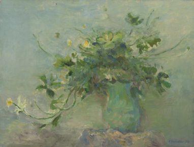 Rolf Händler, Glücksklee in grüner Vase, 1974, Öl auf Leinwand, 37 x 49 cm