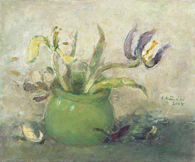 Rolf Händler, Grüne Vase, 2005, Öl auf Leinwand, 25 x 30 cm