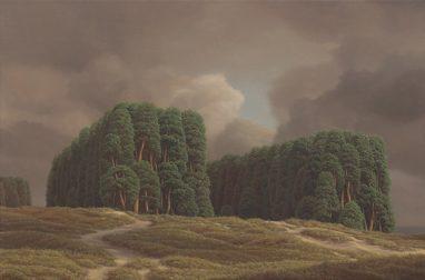 Markus Matthias Krüger, Doppelwald, 2020, Acryl und Öl auf Leinwand, 30 x 45 cm