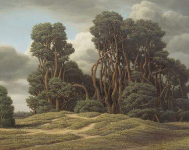 Markus Matthias Krüger, Kiefernwäldchen, 2020, Acryl und Öl auf Leinwand, 40 x 50 cm
