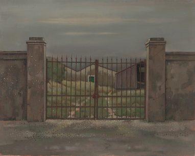 Günther Blau, Tore in Mesola, 1984, Öl auf Leinwand auf Sperrholz, 33 x 42 cm