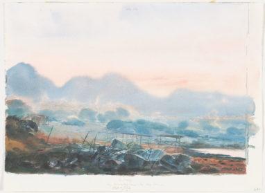 Werner Tübke, Vor Sonnenaufgang auf Kap Sounion, 1982, Aquarell, 22,7 x 31,7 cm