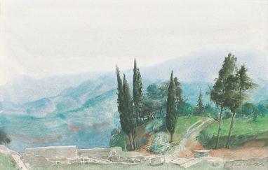 Werner Tübke, Toskana, 1985, Aquarell, 22 x 33 cm