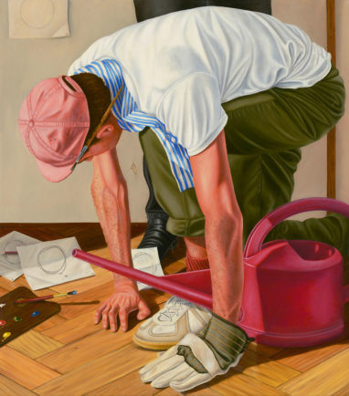 Sven Hoppler, Suchender, 2021, Öl und Acryl auf Leinwand, 45 x 40 cm
