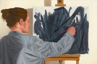 Sven Hoppler, Schwarzmaler, 2021, Öl und Acryl auf Leinwand, 20 x 30 cm