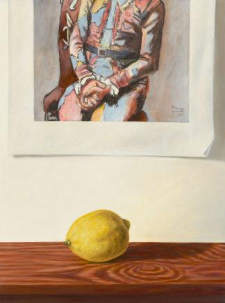 Sven Hoppler, Arlequin assis mit Zitrone, 2021, Öl und Acryl auf Malkarton, 24 x 18 cm
