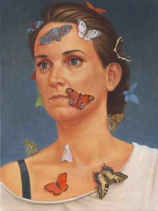 Leif Borges, 15 little Butterflies, 2018, Öl auf Leinwand, 40 x 30 cm