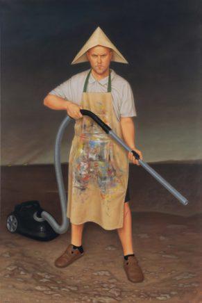 Leif Borges, Staubsaugersoldat, 2019, Öl auf Leinwand, 151 x 100,5 cm