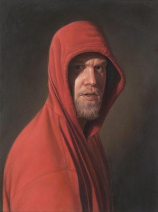Leif Borges, Ich mit Kapuze, 2020, Acryl und Öl auf Holz, 40 x 30 cm