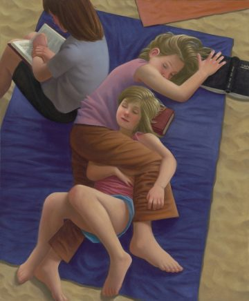 Matthias Ludwig, Schlafen und Lesen, 2020, Mischtechnik auf Hartfaser, 60 x 50 cm