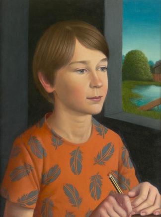 Matthias Ludwig, Stift, 2020, Mischtechnik auf Hartfaser, 40 x 30 cm
