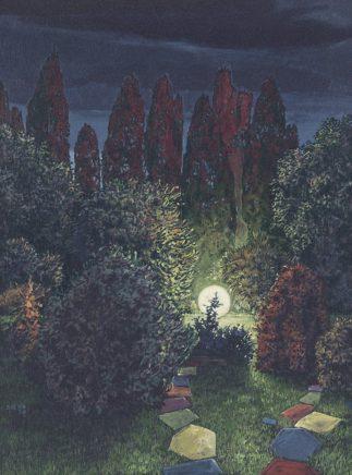 Sten Gutglück, Isle of the dead II, 2020, Acryl auf Leinwand, 40 x 30 cm