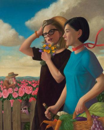Matthias Ludwig, Zwei Frauen, 2021, Mischtechnik auf MDF, 100 x 80 cm