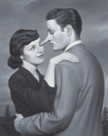 Leif Borges, love me tender, 2021, Acryl und Öl auf Leinwand, 50 x 40 cm