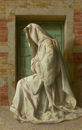 Michael Triegel, Dunkle Nacht (zu Juan de la Cruz), 2018, Mischtechnik auf MDF, 30 x 19 cm