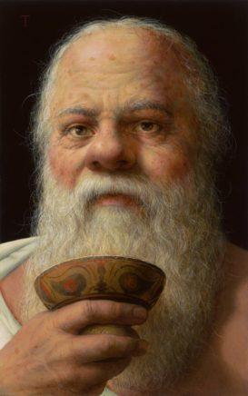 Michael Triegel, Sokrates, 2019, Mischtechnik auf MDF, 30 x 19 cm
