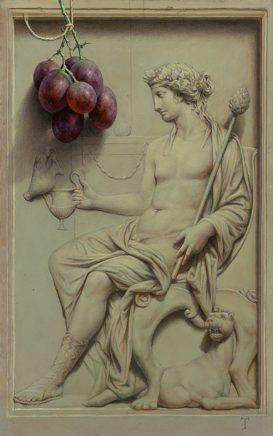 Michael Triegel, Dionysos, 2019, Mischtechnik auf MDF, 30 x 19 cm