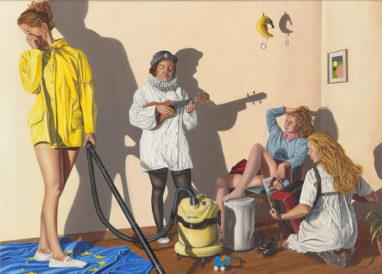 Sven Hoppler, Kleine Musikstunde, 2019, Öl auf Leinwand, 50 x 70 cm