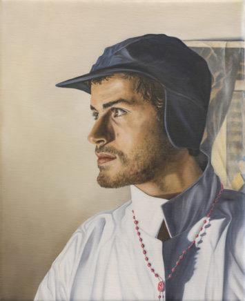 Sven Hoppler, Porträt Beda, 2017/18, Öl auf Leinwand, 30 x 24 cm