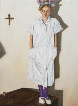 Sven Hoppler, o.T. (Mädchen auf Tisch), 2018/19, Öl auf Leinwand, 40 x 30 cm