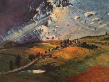 Landschaft mit Kirche, 1949, Kreide, Tusche, Gouache auf Papier, 30 x 40 cm
