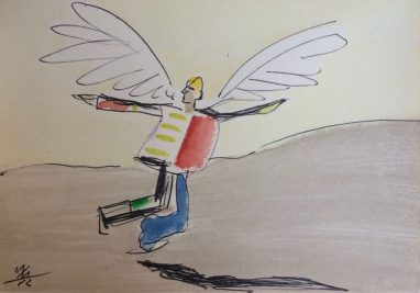 Ikarus, 1982, Aquarell, Kugelschreiber, 12 x 17 cm