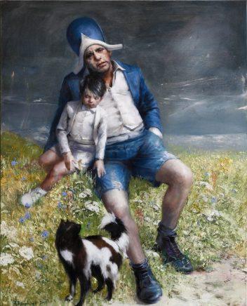 Frank Hauptvogel, Kind und Katze, 2017, Öl auf Leinwand, 100 x 80 cm