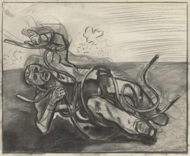 Wolfgang Mattheuer, Verstrickt, 1978, Kohle auf Papier, 70 x 85 cm
