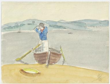 Im Boot, 1972, Aquarell und Bleistift auf Papier, 19,5 x 28,5 cm
