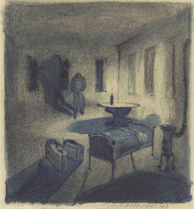 O.T., 1946, Mischtechnik auf Papier, 16 x 15 cm